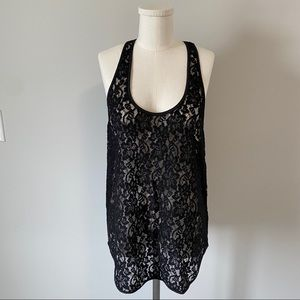 Aritzia Wilfred Madeline Black Sheer Lace Tank Top